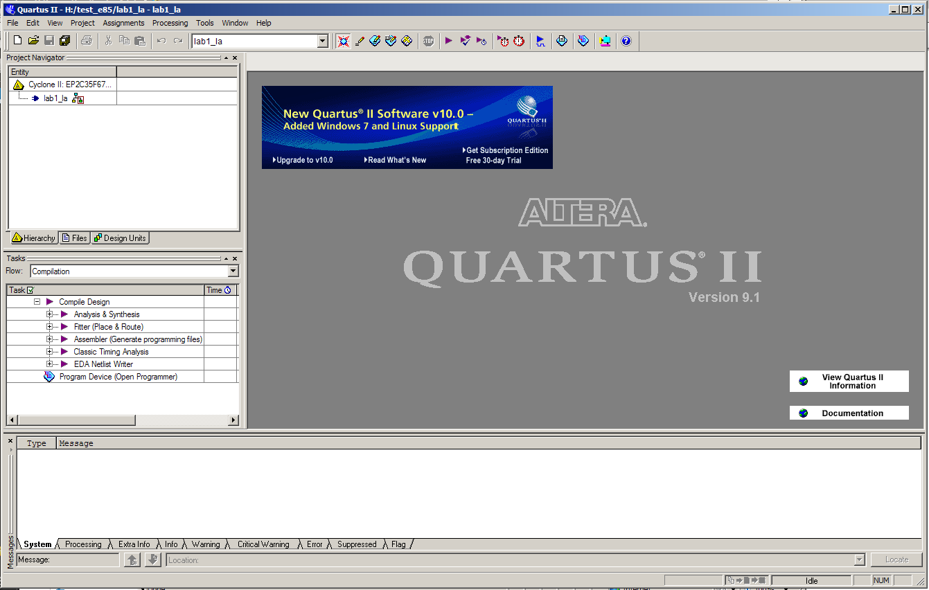 Lab 1 Full Adder Figure1 Bit Quartus Startup Window